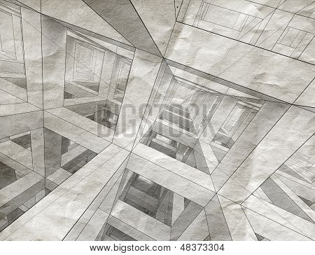 Drawings With Perspective View Of An Abstract 3D Braced Construction On Old Gray Paper