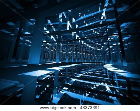 Abstract Background: Turning Dark Blue Mirrored  Futuristic Tunnel
