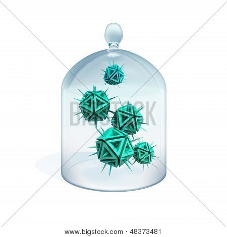 Abstract Illustration Of A Viruses In Quarantine