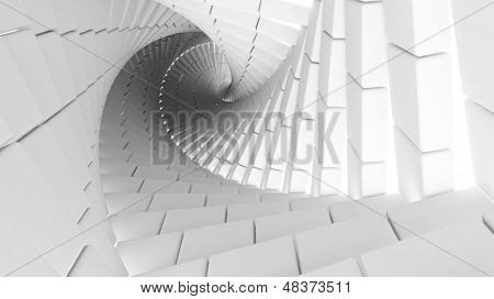 3D Abstract Background Illustration With Helix Made Of White Chamfer Boxes