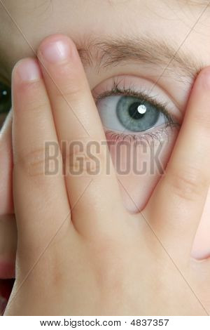 Little Girl Hide Her Face With Fingers