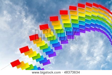 Rainbow Made Of Colorful Envelopes Stream Against The Blue Sky As A Metaphor Of Happy Chain Letters