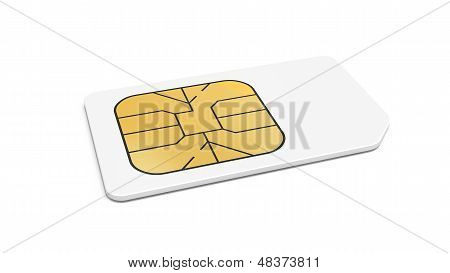 White Sim Card Isolated On White Background With Soft Shadow. 3D Render Illustration.