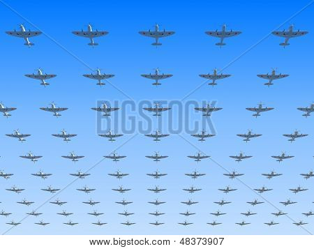 A Massed Formation Of Soviet Version Of Spitfire Fighters Flying Overhead. 3D Illustration