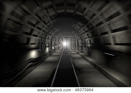 3D Render: Fast Train Travel In The Subway Tunnel. View From The Driver Cabin With Motion Blur And L
