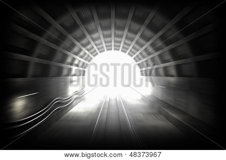 3D Render: Illustration With Glowing End Of Subway Tunnel. View From Driver Cabin With Motion Blur