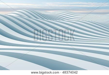 Abstract 3D Wave Stripes Surface Background