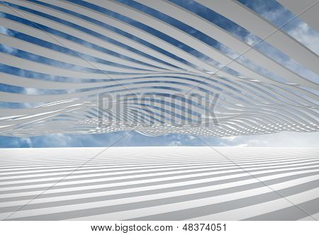Abstract Architecture 3D Wave Stripes Against The Cloudy Sky