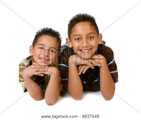 2 Hispanic Young Brothers Smiling