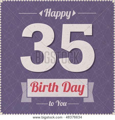35 years old. Happy Birthday Vector Card