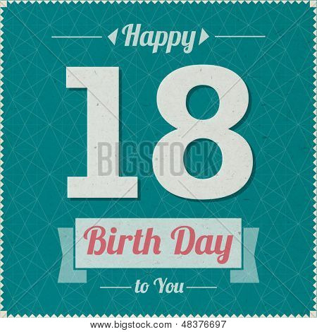 18 years old. Happy Birthday Vector Card