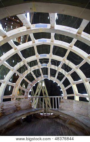 Underground Wood Structure In Turda Salt Mine