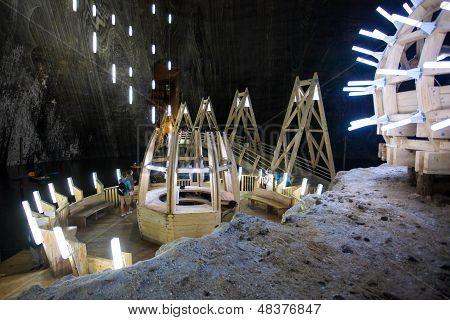 Underground Wood Structures In Turda Salt Mine
