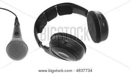 Mic And Black Headphones