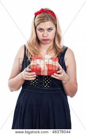 Disappointed Woman With Small Present