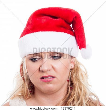 Disappointed Christmas Woman Face