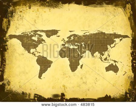 World Map, Grunge