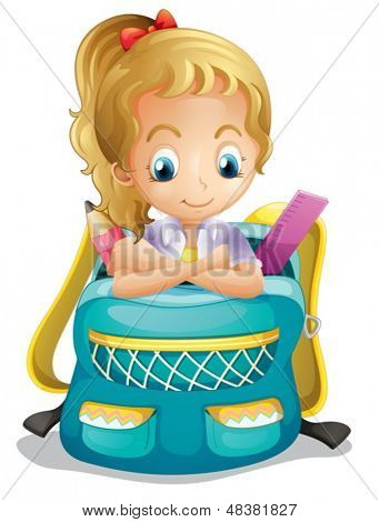 Illustration of a school girl inside a schoolbag on a white background