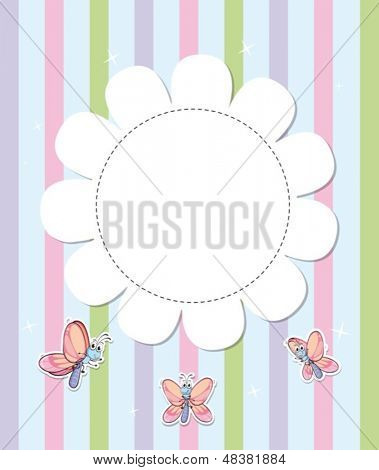 Illustration of a stationery with three butterflies