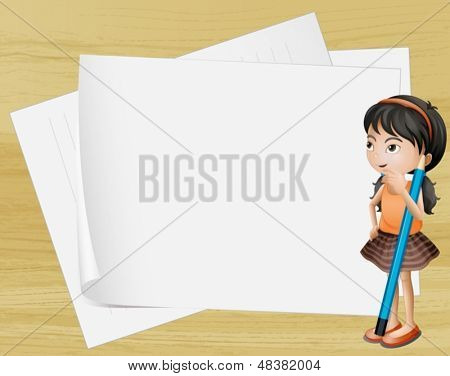 Illustration of a girl thinking near the empty papers
