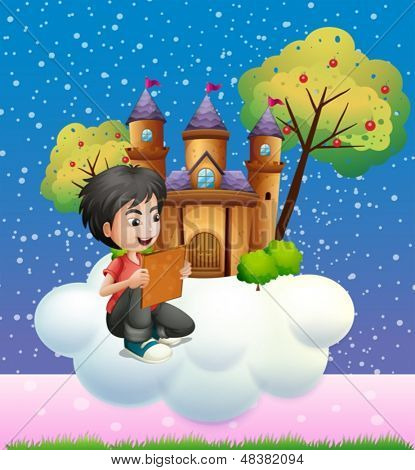 Illustration of a boy reading a book in front of the floating castle
