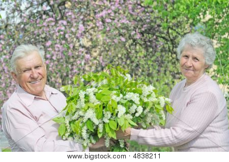 Happiness Couple With Bouquet Flower