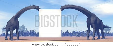 Brachiosaurus dinosaurs and blank sign - 3D render