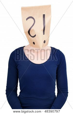 Person With A Paper Bag Head