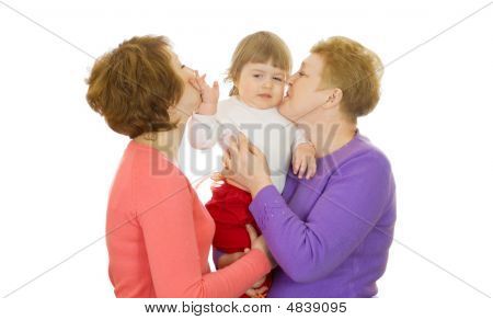 Small Baby With Mother And Grandmother