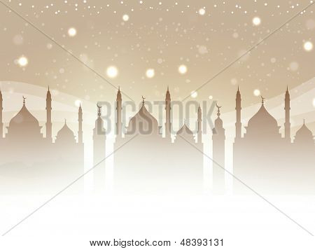 Muslim community festival Eid Mubarak concept with silhouette of mosque in shiny night background.