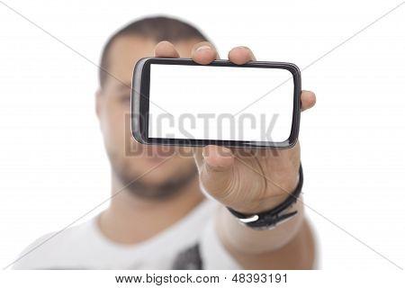 Hombre con enorme pantalla en blanco Smartphone