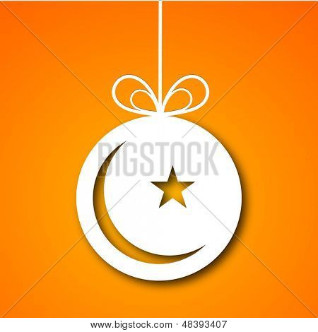 Tag, sticker or label design with moon and star on orange background for Muslim community festival Eid Mubarak.
