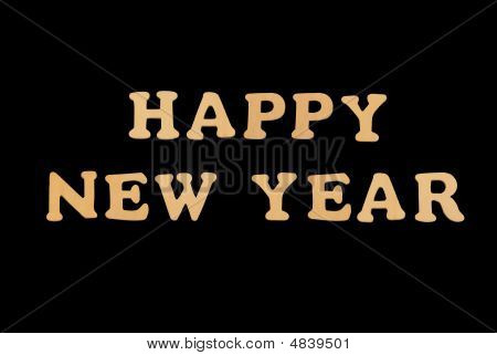 Wooden Word Happy New Year