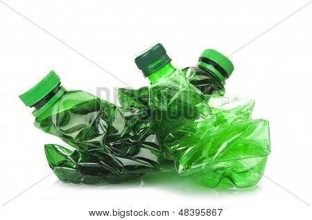 bottles of green plastic
