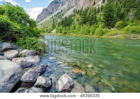 Beautiful Mountain River at the Lillooet Seton Lake Park. Vancouver, British Columbia, Canada.
