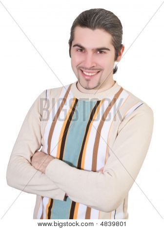 Young Smiley Handsome Male In Sweater Isolated