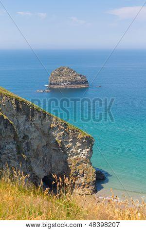 Gull Rock Trebarwith Strand beach Cornwall near Tintagel England UK