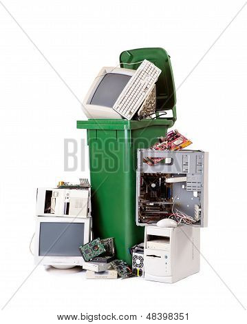 Computers in trash bin
