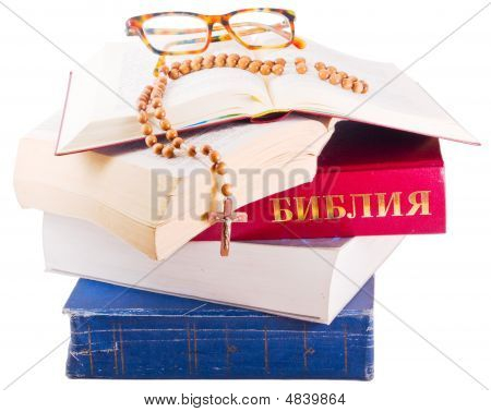 Open Bible With Rosary And Glasses