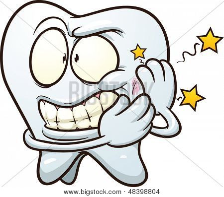 Cartoon Toothache. Vector clip art illustration with simple gradients. All in a single layer.