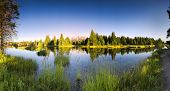 stock photo of tree snake  - Early morning panoramic view of the Snake River and Tetons in Wyoming - JPG
