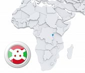 picture of burundi  - 3D modeled Map of Africa with highlighted state of Burundi with national flag - JPG