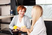 picture of only mature adults  - Happy adult woman with daughter on kitchen - JPG