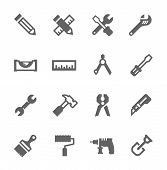 stock photo of household  - Simple icons related to tools - JPG
