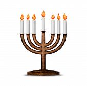 stock photo of menorah  - Hanukkah candles all candle lite on the traditional Hanukkah menorah - JPG
