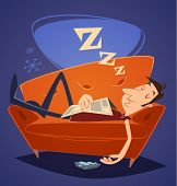 picture of household  - Man sleeping on sofa - JPG