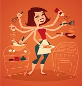 stock photo of oven  - Woman cooking breakfast - JPG