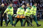 TWICKENHAM LONDON, 27/02/2010. Ireland team captain Brian O'Driscoll is carried off on the stretcher