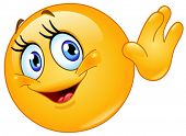 picture of shy woman  - Female emoticon waving hello - JPG