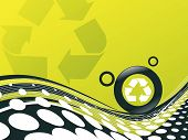 foto of environmentally friendly  - recycle button environmental conservation with wave halftone line - JPG
